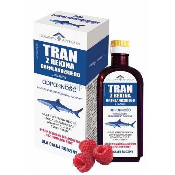 Tran z Rekina Grenlandzkiego- syrop malinowy 165 ml